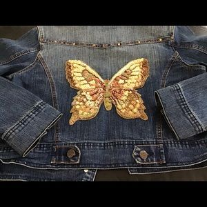 DENIM Jacket with Butterfly made of Sequins